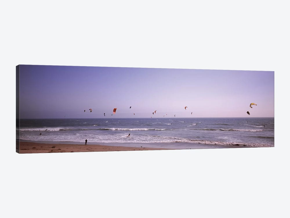 Kite surfers over the sea, Waddell Beach, Waddell Creek, Santa Cruz County, California, USA by Panoramic Images 1-piece Canvas Art