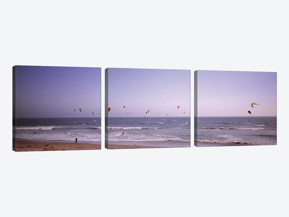 Kite surfers over the sea, Waddell Beach, Waddell Creek, Santa Cruz County, California, USA by Panoramic Images 3-piece Canvas Art