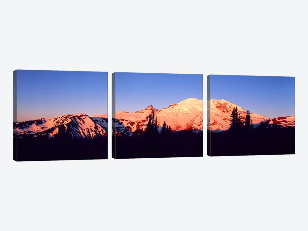 Sunset Mount Rainier Seattle WA by Panoramic Images 3-piece Canvas Wall Art