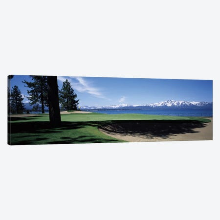 Golf course with mountain view, Edgewood Tahoe Golf Course, Stateline, Douglas County, Nevada, USA Canvas Print #PIM12569} by Panoramic Images Canvas Artwork