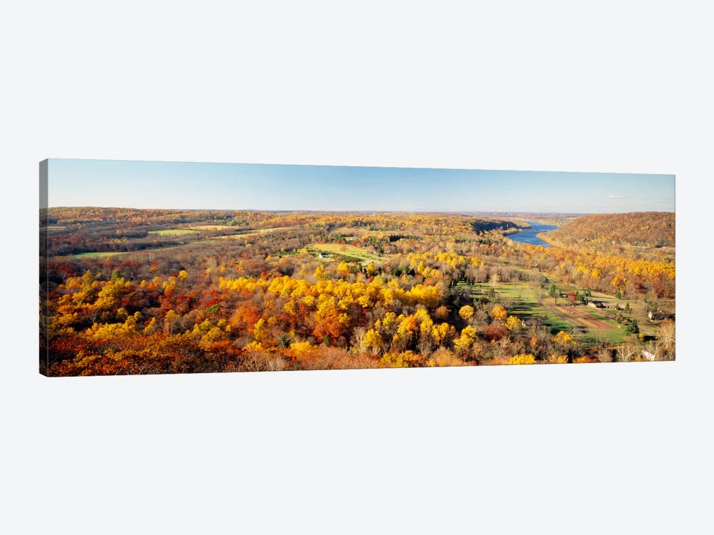 Aerial view of a landscapeDelaware River, Washington Crossing, Bucks County, Pennsylvania, USA by Panoramic Images 1-piece Canvas Wall Art