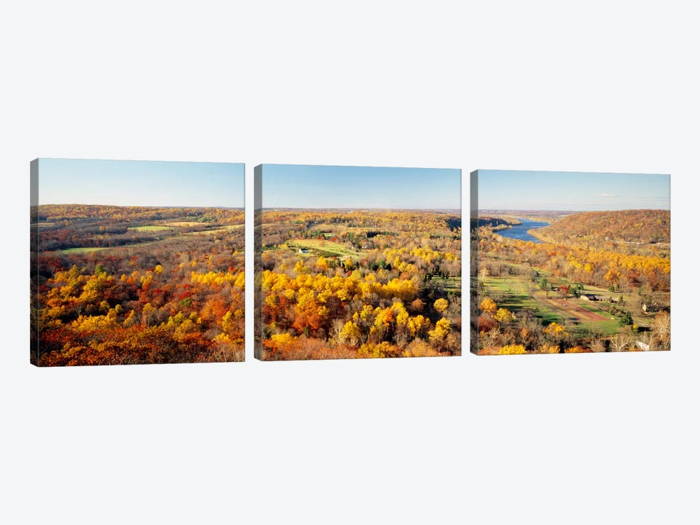 Aerial view of a landscapeDelaware River, Washington Crossing, Bucks County, Pennsylvania, USA by Panoramic Images 3-piece Canvas Artwork