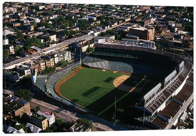 Aerial view of Wrigley Field, Chicago, Cook County, Illinois, USA Canvas Art Print