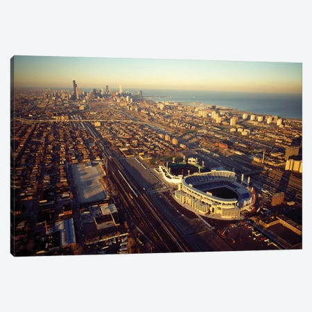 Aerial view of a city, Old Comiskey Park, New Comiskey Park, Chicago, Cook County, Illinois, USA Canvas Print #PIM12600} by Panoramic Images Canvas Art Print