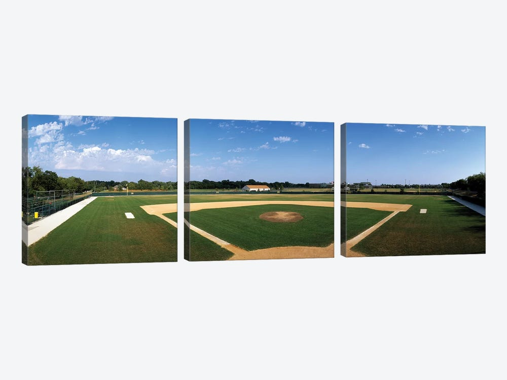 High school baseball diamond field, Lincolnshire, Lake County, Illinois, USA by Panoramic Images 3-piece Canvas Art