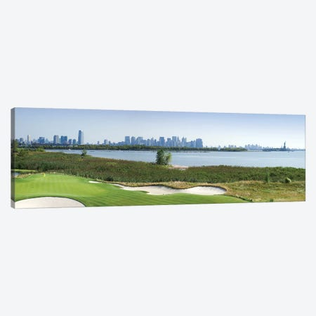 Liberty National Golf Club with Lower Manhattan and Statue Of Liberty in the background, Jersey City, New Jersey, USA 2010 Canvas Print #PIM12611} by Panoramic Images Canvas Artwork