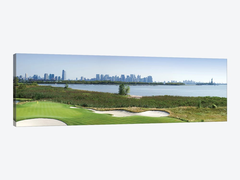 Liberty National Golf Club with Lower Manhattan and Statue Of Liberty in the background, Jersey City, New Jersey, USA 2010 by Panoramic Images 1-piece Canvas Artwork