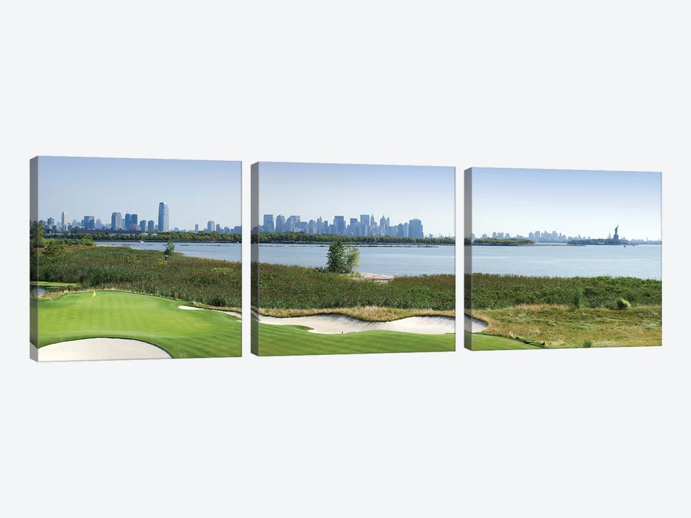 Liberty National Golf Club with Lower Manhattan and Statue Of Liberty in the background, Jersey City, New Jersey, USA 2010 by Panoramic Images 3-piece Canvas Art