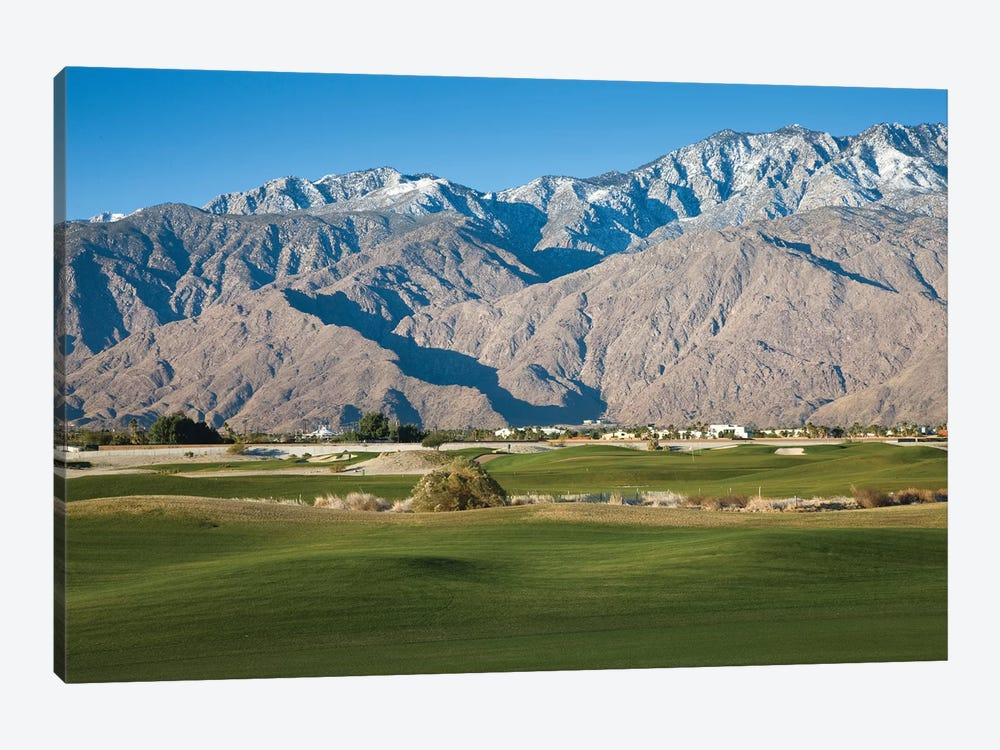 Golf course with mountain range, Desert Princess Country Club, Palm Springs, Riverside County, California, USA by Panoramic Images 1-piece Canvas Print