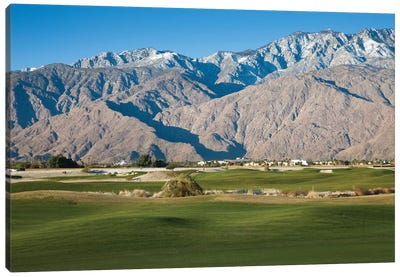 Golf course with mountain range, Desert Princess Country Club, Palm Springs, Riverside County, California, USA Canvas Art Print