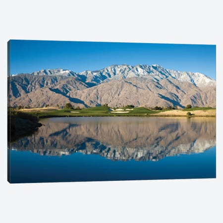 Reflection of mountains in a pond, Desert Princess Country Club, Palm Springs, Riverside County, California, USA Canvas Print #PIM12628} by Panoramic Images Canvas Art Print