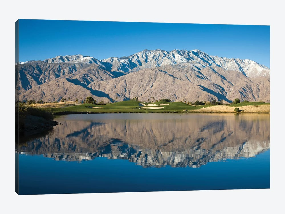Reflection of mountains in a pond, Desert Princess Country Club, Palm Springs, Riverside County, California, USA by Panoramic Images 1-piece Canvas Wall Art