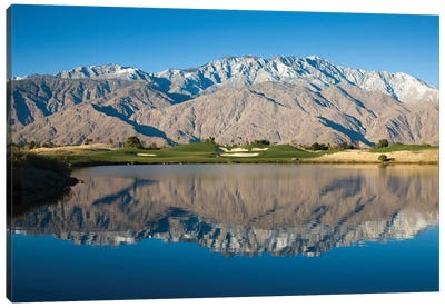 Reflection of mountains in a pond, Desert Princess Country Club, Palm Springs, Riverside County, California, USA Canvas Art Print
