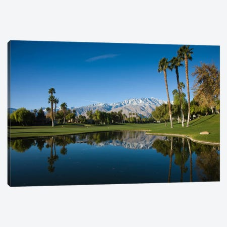 Course Pond, Desert Princess Country Club, Cathedral City, Coachella Valley, Riverside County, California, USA Canvas Print #PIM12633} by Panoramic Images Canvas Artwork