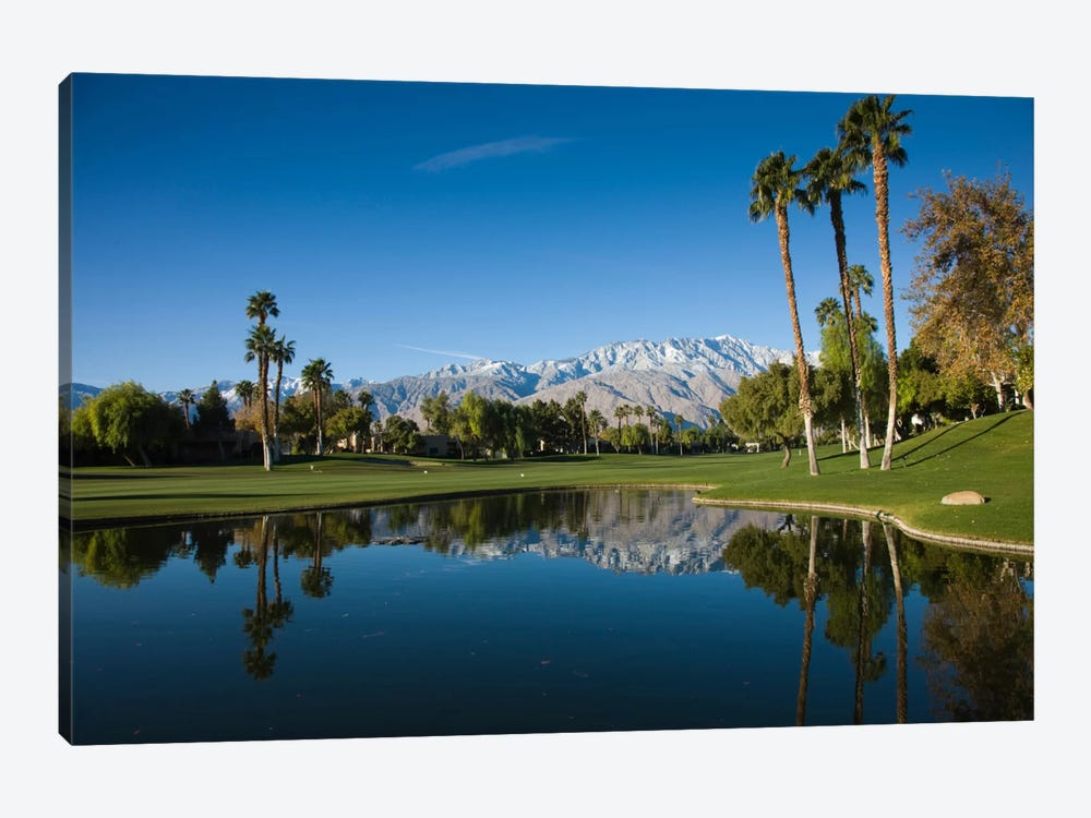Course Pond, Desert Princess Country Club, Cathedral City, Coachella Valley, Riverside County, California, USA by Panoramic Images 1-piece Canvas Artwork