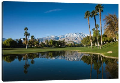 Course Pond, Desert Princess Country Club, Cathedral City, Coachella Valley, Riverside County, California, USA Canvas Art Print