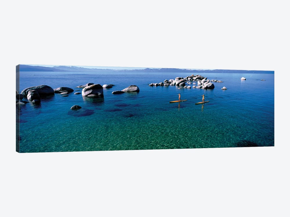 Two women paddle boarding in a lake 2, Lake Tahoe, California, USA by Panoramic Images 1-piece Canvas Wall Art