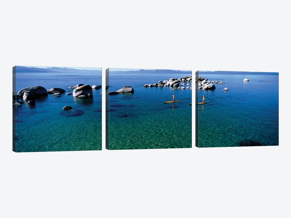 Two women paddle boarding in a lake 2, Lake Tahoe, California, USA 3-piece Canvas Wall Art