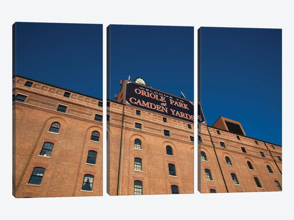 Low angle view of a baseball park, Oriole Park at Camden Yards, Baltimore, Maryland, USA by Panoramic Images 3-piece Canvas Art Print