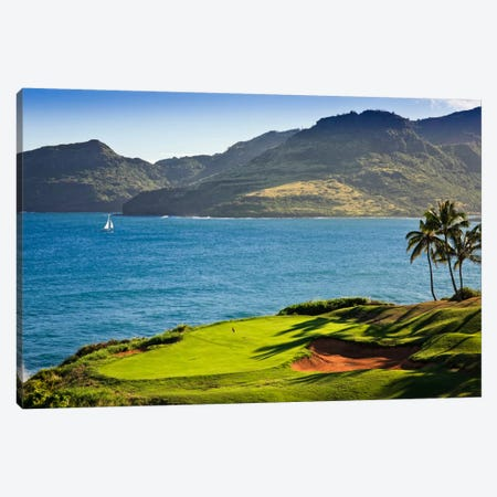 Oceanside Green, 14th Hole, Ocean Course, Hokuala Kaua'i Resort, Hawaii, USA Canvas Print #PIM12683} by Panoramic Images Canvas Print