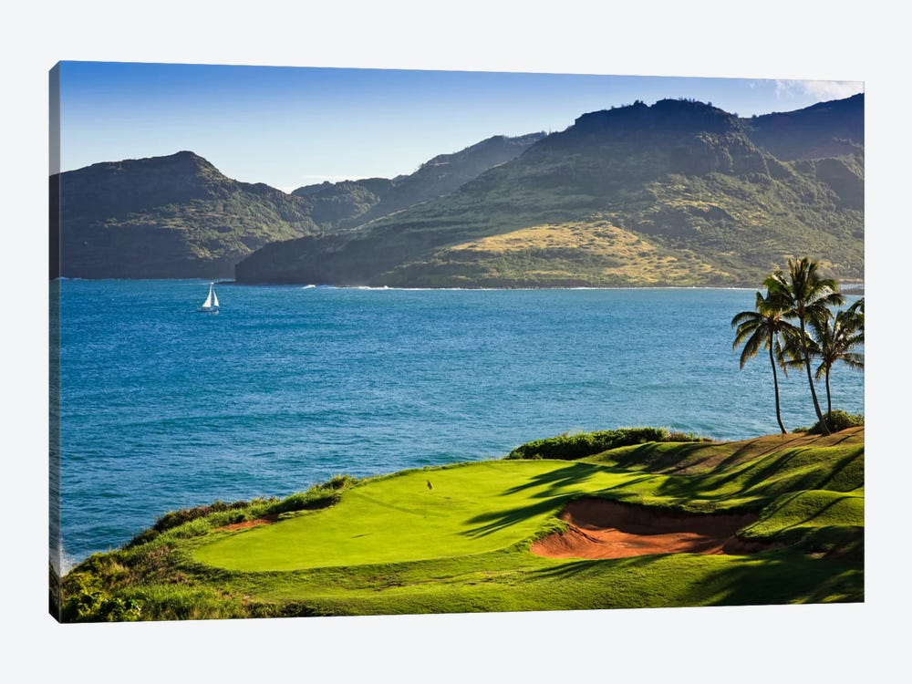 Oceanside Green, 14th Hole, Ocean Course, Hokuala Kaua'i Resort, Hawaii, USA by Panoramic Images 1-piece Art Print