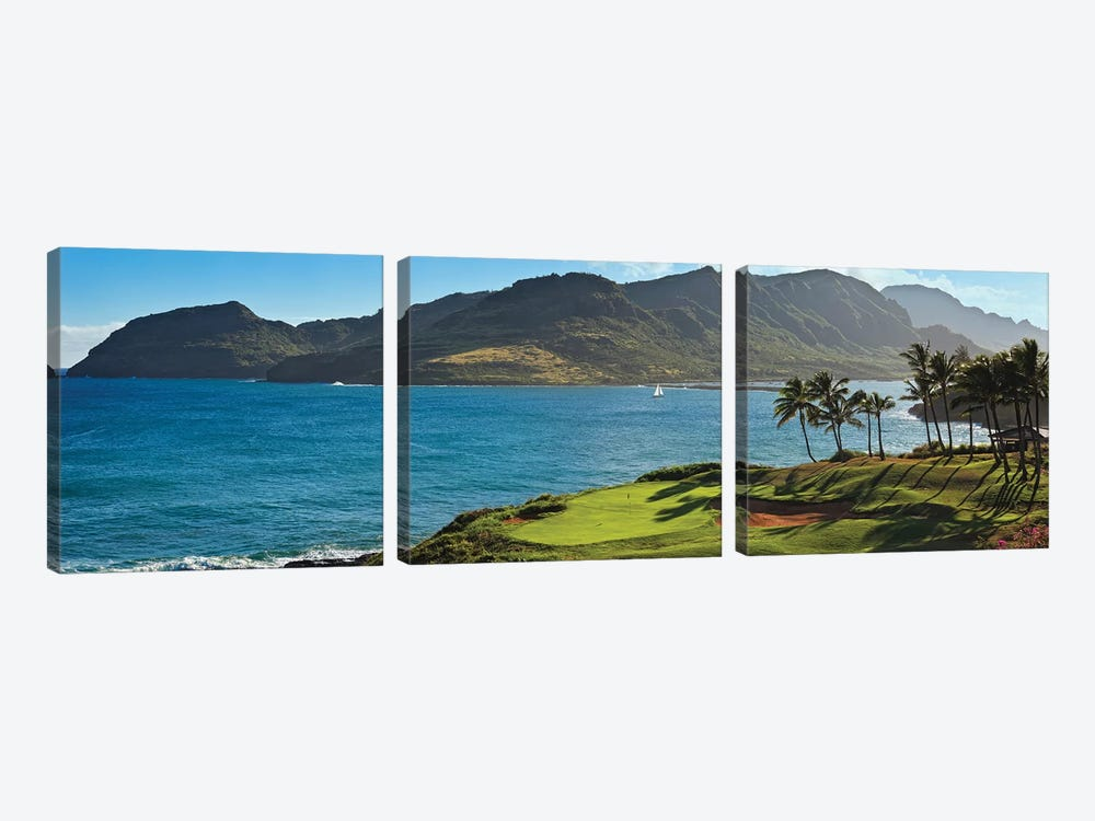 Palm trees in a golf course 2, Kauai Lagoons, Kauai, Hawaii, USA by Panoramic Images 3-piece Canvas Print