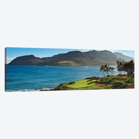 Palm trees in a golf course 2, Kauai Lagoons, Kauai, Hawaii, USA 3-Piece Canvas #PIM12685} by Panoramic Images Canvas Artwork
