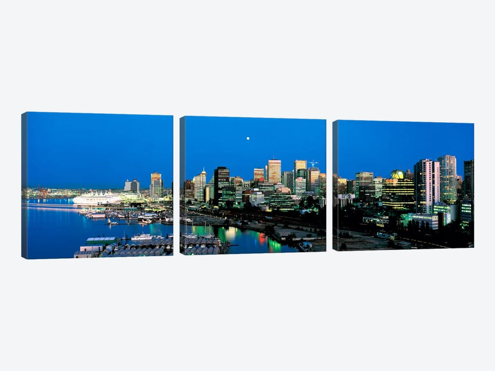 Evening skyline Vancouver British Columbia Canada by Panoramic Images 3-piece Art Print