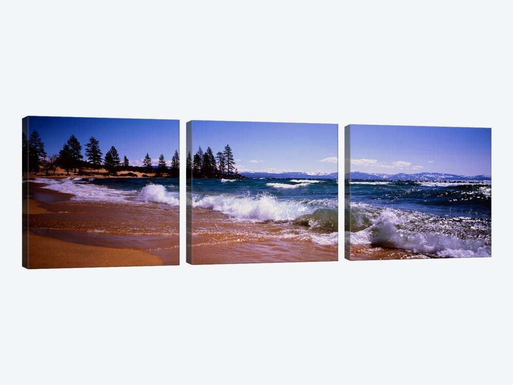 Crashing Waves, Lake Tahoe, Nevada, USA by Panoramic Images 3-piece Canvas Art Print