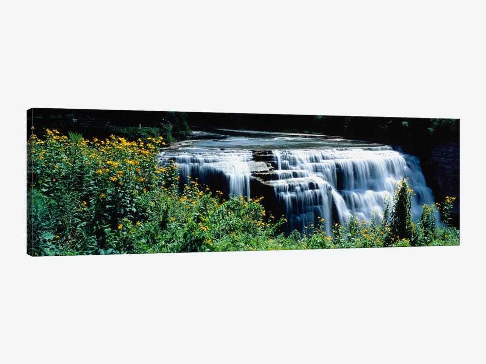 Waterfall in a parkMiddle Falls, Genesee, Letchworth State Park, New York State, USA by Panoramic Images 1-piece Canvas Wall Art