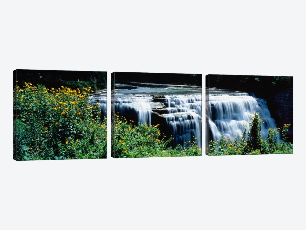 Waterfall in a parkMiddle Falls, Genesee, Letchworth State Park, New York State, USA by Panoramic Images 3-piece Canvas Art