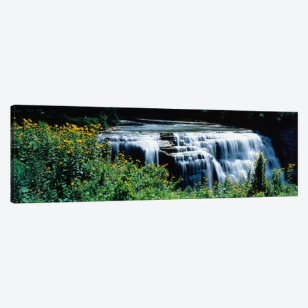 Waterfall in a parkMiddle Falls, Genesee, Letchworth State Park, New York State, USA 3-Piece Canvas #PIM1272} by Panoramic Images Canvas Art