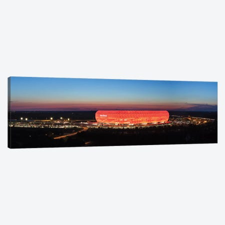 Soccer stadium lit up at dusk 2, Allianz Arena, Munich, Bavaria, Germany Canvas Print #PIM12731} by Panoramic Images Art Print