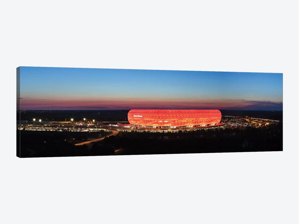 Soccer stadium lit up at dusk 2, Allianz Arena, Munich, Bavaria, Germany by Panoramic Images 1-piece Art Print