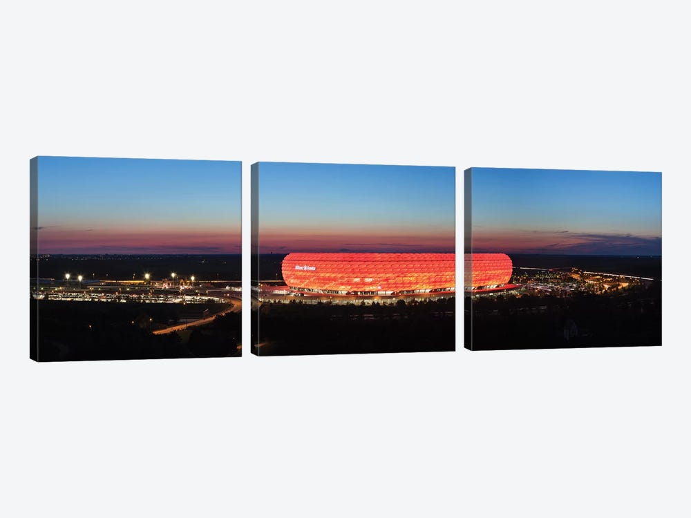 Soccer stadium lit up at dusk 2, Allianz Arena, Munich, Bavaria, Germany by Panoramic Images 3-piece Art Print