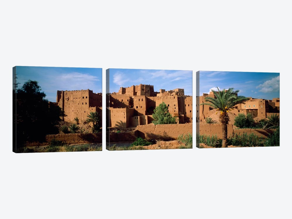 Buildings in a villageAit Benhaddou, Ouarzazate, Marrakesh, Morocco by Panoramic Images 3-piece Canvas Art Print
