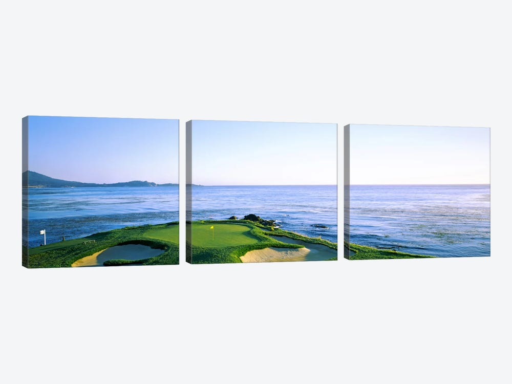 7th Hole, Pebble Beach Golf Links, Monterey County, California, USA by Panoramic Images 3-piece Canvas Print