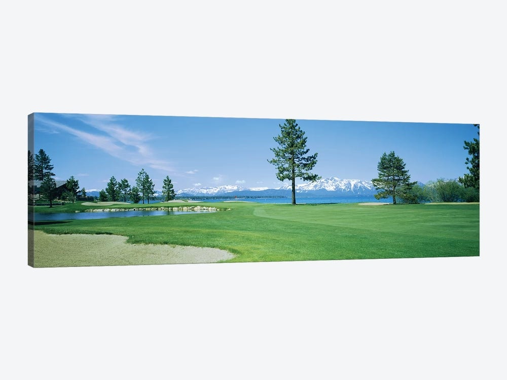 Sand trap in a golf course, Edgewood Tahoe Golf Course, Stateline, Douglas County, Nevada by Panoramic Images 1-piece Canvas Art Print
