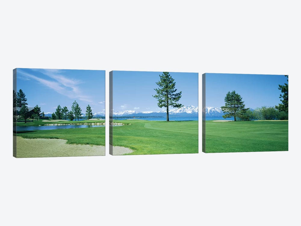 Sand trap in a golf course, Edgewood Tahoe Golf Course, Stateline, Douglas County, Nevada by Panoramic Images 3-piece Canvas Print