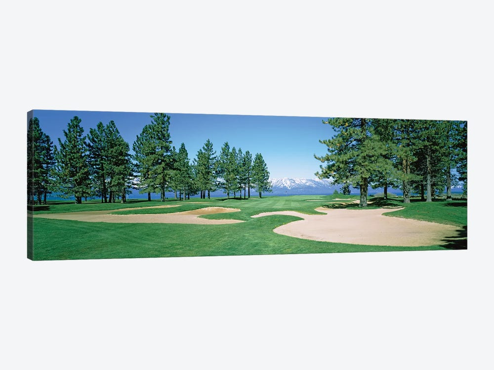 Sand traps in a golf course, Edgewood Tahoe Golf Course, Stateline, Douglas County, Nevada, USA by Panoramic Images 1-piece Canvas Wall Art