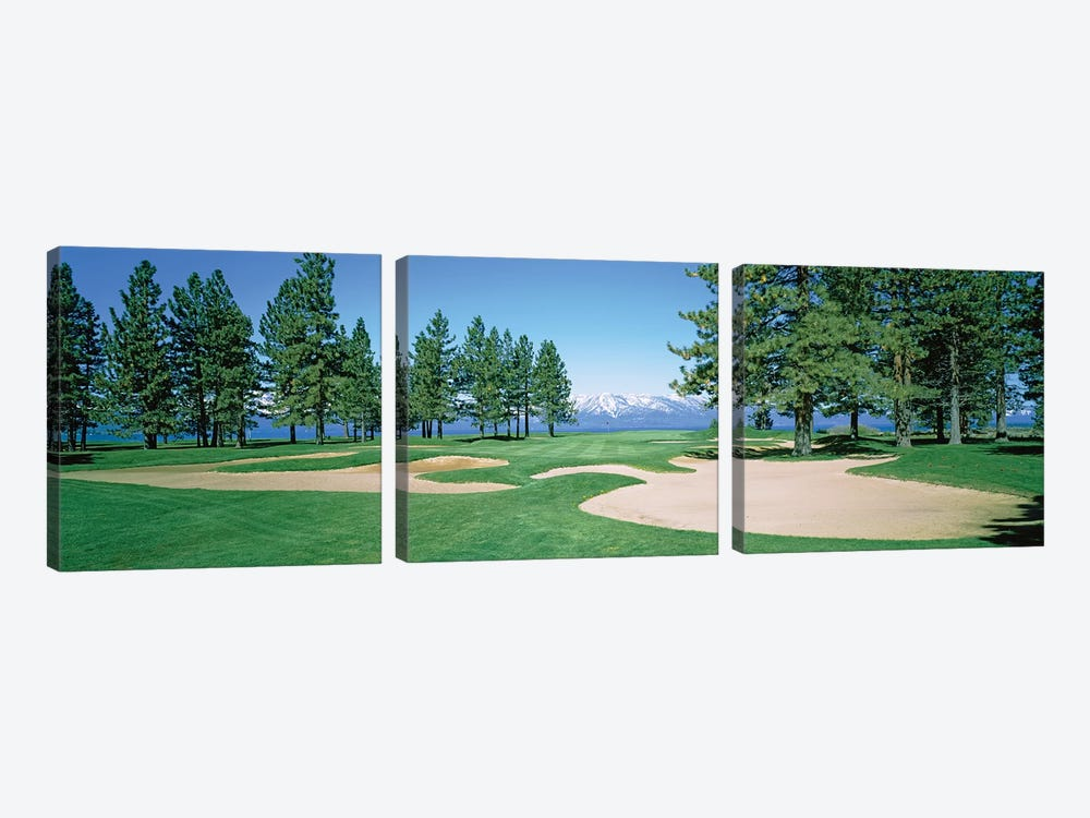 Sand traps in a golf course, Edgewood Tahoe Golf Course, Stateline, Douglas County, Nevada, USA by Panoramic Images 3-piece Canvas Wall Art