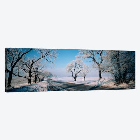 Road passing through winter fieldsIllinois, USA Canvas Print #PIM1278} by Panoramic Images Canvas Artwork
