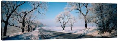 Road passing through winter fieldsIllinois, USA Canvas Print #PIM1278