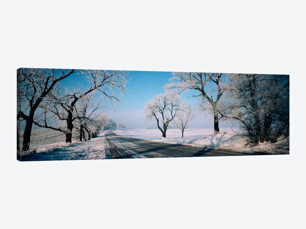 Road passing through winter fieldsIllinois, USA by Panoramic Images 1-piece Canvas Art