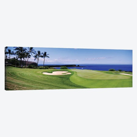 Golf course at the oceanside, The Manele Golf course, Lanai City, Hawaii, USA Canvas Print #PIM12849} by Panoramic Images Canvas Art Print