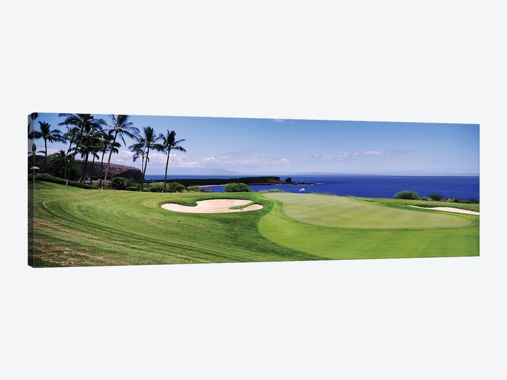 Golf course at the oceanside, The Manele Golf course, Lanai City, Hawaii, USA by Panoramic Images 1-piece Canvas Wall Art