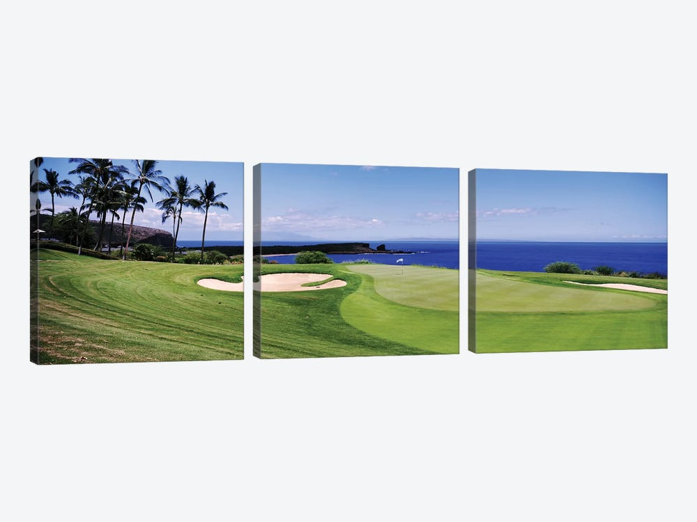 Golf course at the oceanside, The Manele Golf course, Lanai City, Hawaii, USA by Panoramic Images 3-piece Canvas Artwork