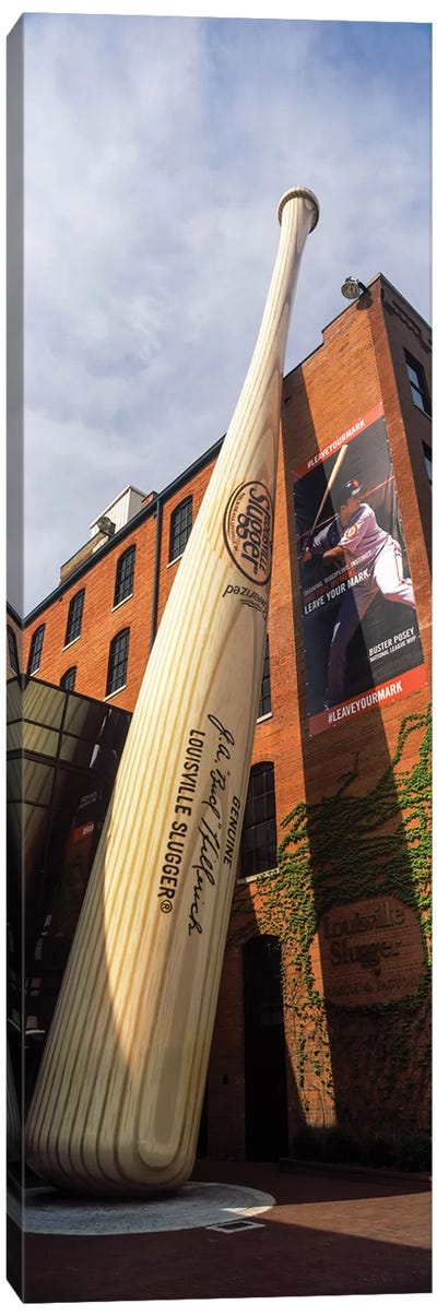 Giant baseball bat adorns outside of the Louisville Slugger Museum And Factory, Louisville, Kentucky, USA Canvas Art Print