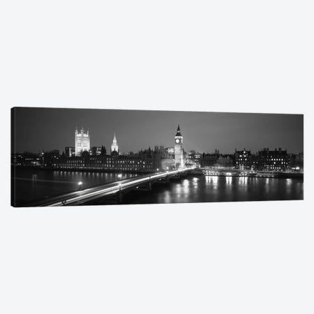 England, London, Parliament, Big Ben (black & white) Canvas Print #PIM128bw} by Panoramic Images Canvas Wall Art