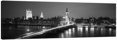 England, London, Parliament, Big Ben (black & white) Canvas Print #PIM128bw